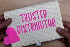 Schreibensanmerkungsvertretung vertraute Verteiler Geschäftsfoto, das autorisierten Lieferanten-glaubwürdigen Großhandel zur Scha lizenzfreies stockbild