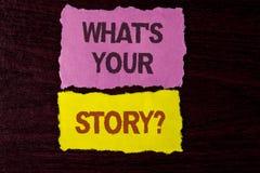 Schreibensanmerkungsvertretung, was Ihre Geschichten-Frage ist Geschäftsfoto, das persönlichem writte Geschichtenerzählen der vor Lizenzfreie Stockfotos