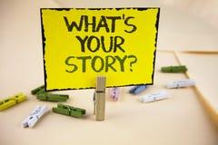 Schreibensanmerkungsvertretung, was Ihre Geschichten-Frage ist Geschäftsfoto, das persönlichem writte Geschichtenerzählen der vor Stockfoto