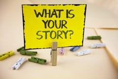 Schreibensanmerkungsvertretung, was Ihre Geschichten-Frage ist Geschäftsfoto, das persönlichem writte Geschichtenerzählen der vor Stockbild