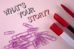 Schreibensanmerkungsvertretung, was Ihre Geschichten-Frage ist Geschäftsfoto, das persönlichem writte Geschichtenerzählen der vor Stockfotos