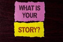 Schreibensanmerkungsvertretung, was Ihre Geschichten-Frage ist Geschäftsfoto, das persönlichem writte Geschichtenerzählen der vor Lizenzfreie Stockfotografie