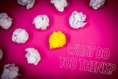 Schreibensanmerkungsvertretung, was Sie Frage denken Geschäftsfoto Präsentationsmeinungs-Gefühl-Kommentar-Urteil-Überzeugungs-Ros stockbilder