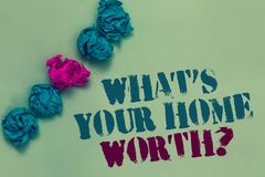 Schreibensanmerkungsvertretung, welches s wert Frage Ihr Haupt ist Geschäftsfoto Präsentationswert eines Grundbesitz-Selbstkosten stockbild