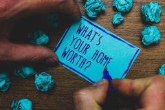 Schreibensanmerkungsvertretung, welches s wert Frage Ihr Haupt ist Geschäftsfoto Präsentationswert eines Grundbesitz-Selbstkosten lizenzfreie stockfotografie