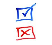 Schreibensauswahlkästchen auf weißem Hintergrund Lizenzfreie Stockfotografie