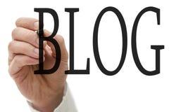 Schreibensblog auf virtuellem Schirm Lizenzfreie Stockfotos