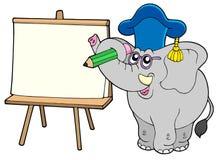 Schreibenselefantlehrer mit Tablette stock abbildung