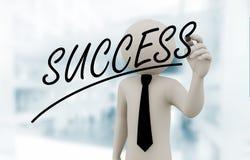 Schreibenserfolg des Geschäftsmannes 3d auf Touch Screen Lizenzfreies Stockbild