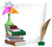 Schreibensmaterialien und -blumen Stockbilder