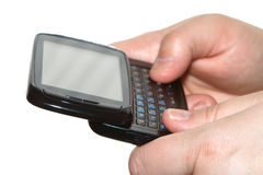 Schreibensms auf mobilem Mobiltelefon Stockfoto