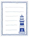 Schreibenspapier oder Briefpapier mit Leuchtturm Stockbilder