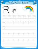 Schreibenspraxisbuchstabe R Stockbild