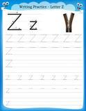 Schreibenspraxisbuchstabe Z Lizenzfreies Stockfoto