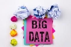Schreibenstext, der die großen Daten geschrieben auf klebrige Anmerkung im Büro mit Schraubenpapierbällen zeigt Geschäftskonzept  Stockbild