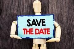 Schreibenstext-Vertretung Abwehr das Datum Konzeptbedeutung Hochzeitstag-Einladungs-Anzeige geschrieben auf die klebrige Anmerkun Lizenzfreie Stockfotos