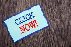 Schreibenstext-Vertretung Klicken jetzt Geschäftsfoto Präsentationszeichen-Buch-oder Register-Fahne für Join Apply geschrieben au stockbilder