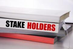 Schreibenstextvertretung Stangen-Halter Geschäftskonzept für die Verwahrer-Verpflichtung geschrieben auf das Buch auf dem weißen  Lizenzfreies Stockfoto