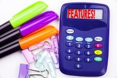Schreibenswort kennzeichnet Text im Büro mit Umgebungen wie Markierung, Stiftschreiben auf Taschenrechner Geschäftskonzept für Ad Lizenzfreie Stockfotografie