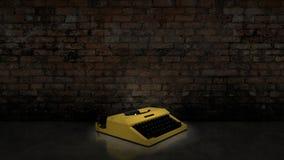 Schreibmaschine auf Backsteinmauer Stockbilder