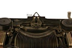Schreibmaschine mit dem Wort-Blog Stockbild