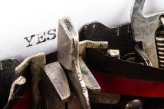 Schreibmaschine mit Text ja Lizenzfreies Stockfoto