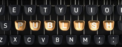 Schreibmaschine mit VERÖFFENTLICHEN Knöpfe stockfotografie