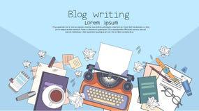 Schreibmaschinen-Autorn-Verfasser Workplace Desk Lizenzfreie Stockfotos