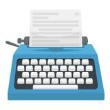 Schreibmaschinenikone in der Karikaturart lokalisiert auf weißem Hintergrund Filme und Kinosymbolvorratvektorillustration Stockbild