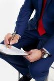 Schreibt das Dokument Stockfoto