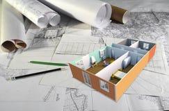Schreibtisch des Architekten Stockfotos