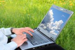 Schreibtisch des blauen Himmels stockbilder