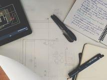 Schreibtisch eines Architekten Lizenzfreie Stockfotografie