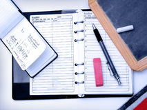 Schreibtisch-Felder Stockbild