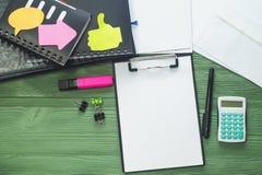 Schreibtisch, flache Lage Lizenzfreie Stockbilder