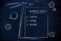 Schreibtisch mit Bleistiften, Kaffee und Dokumenten über Unternehmensziele Lizenzfreies Stockfoto