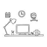 Schreibtisch gezeichnet  Arbeitsplatz Mit Gezeichneter Gekritzelart Des Computers Hand Auch ...