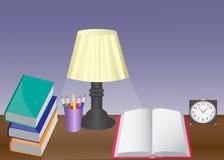 Schreibtisch mit einer Vielzahl der Themen Stockbild