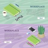 Schreibtisch mit Handy, Gläser, Betriebsblitz-Antrieb Lizenzfreies Stockbild