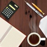 Schreibtisch mit Kaffeetasse lizenzfreie abbildung