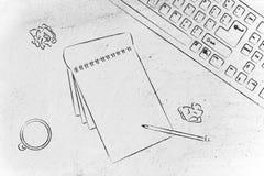 Schreibtisch mit keybord, Kaffee und Geschäftsunterlagen Stockfotos