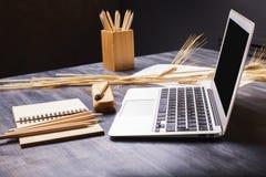 Schreibtisch mit Laptop Lizenzfreies Stockfoto