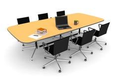 Schreibtisch mit Stühlen und einem Computer Lizenzfreie Stockfotografie