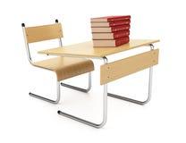 Schreibtisch und Bücher Lizenzfreies Stockfoto