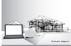 Schreibtischbüro- und -hausplanungsarbeit Stockfotos