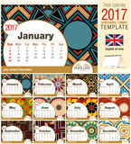 Schreibtischdreieck-Kalenderschablone 2017 mit gebürtigen Rosetten entwerfen Größe: 210mm x 150mm vektor abbildung