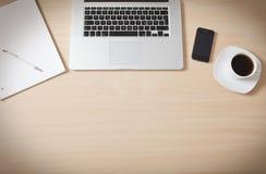 Schreibtischholzoberfläche Stockbild