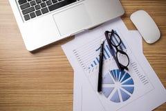 Schreibtischtabelle mit Computer, Versorgungen, Analysediagramm, calcu Lizenzfreies Stockbild