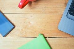 Schreibtischtabelle von der Spitze Stockfoto