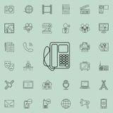 Schreibtischtelefonikone Ausführlicher Satz Medienikonen Erstklassiges Qualitätsgrafikdesignzeichen Eine der Sammlungsikonen für  lizenzfreie abbildung